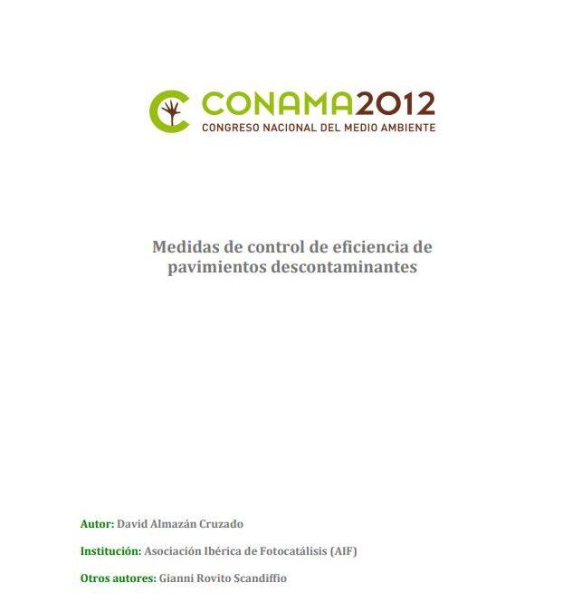 Medidas de control de eficiencia de pavimientos descontaminantes