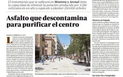El Ayuntamiento de Madrid incluye en los  Pliegos de condiciones los tratamientos superficiales descontaminantes sobre pavimentos
